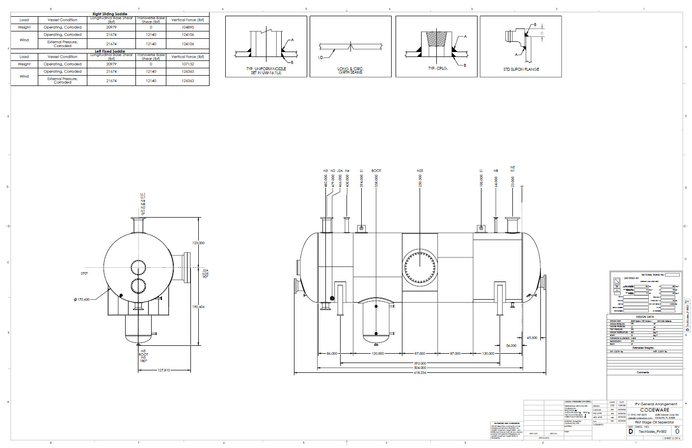 General arrangement drawings are generated automatically by the Codeware Interface. With nozzle and joint block library.